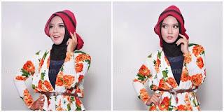 Hijab Tutorial : Cantik Mewah Berkerudung Merah 5