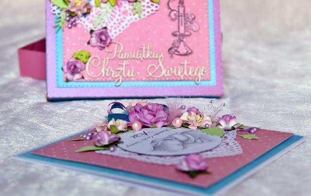 pamiątka chrztu świętego, dla dziewczynki, z okazji chrztu, prezent od matki chrzestnej, kartka z okazji chrztu, komplet na chrzest