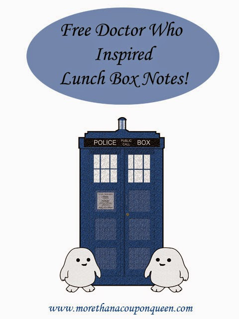Free Doctor Who Inspired Lunch Box Notes!