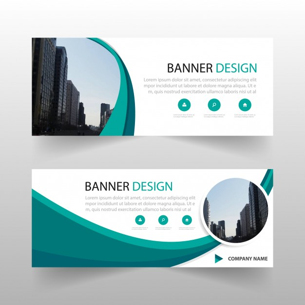 Green circle abstract banner template design Free Vector