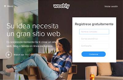 Crear una cuenta en Weebly