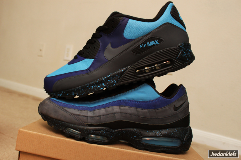 sports shoes 68c43 18f71 This Nike Air Max 90 features a black speckled midsole, Navy Blue blue and  Harbor Blue uppers, and black panels, sock liner and laces to create what  Stash ...