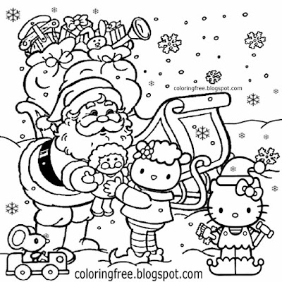 Xmas sketching ideas teenage girls coloring sheets pretty hello kitty Christmas pictures to color in