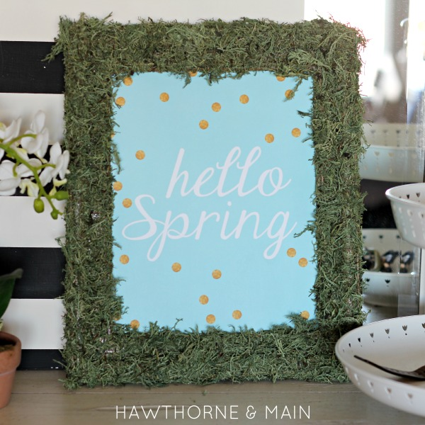 "DIY Moss Frame with Free Printable, super cute and easy moss frame with ""Hello Spring"" free printable!"