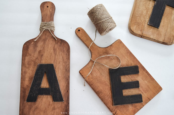 Cutting boards and wood letters painted black