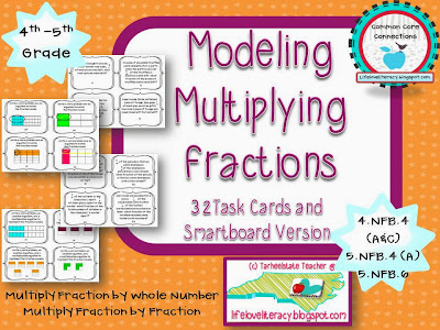 Multiplying Fractions with Models Task Cards 5NF