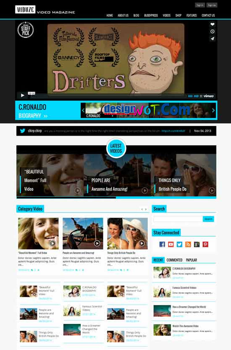 VIDUZE Video Magazine WordPress Theme
