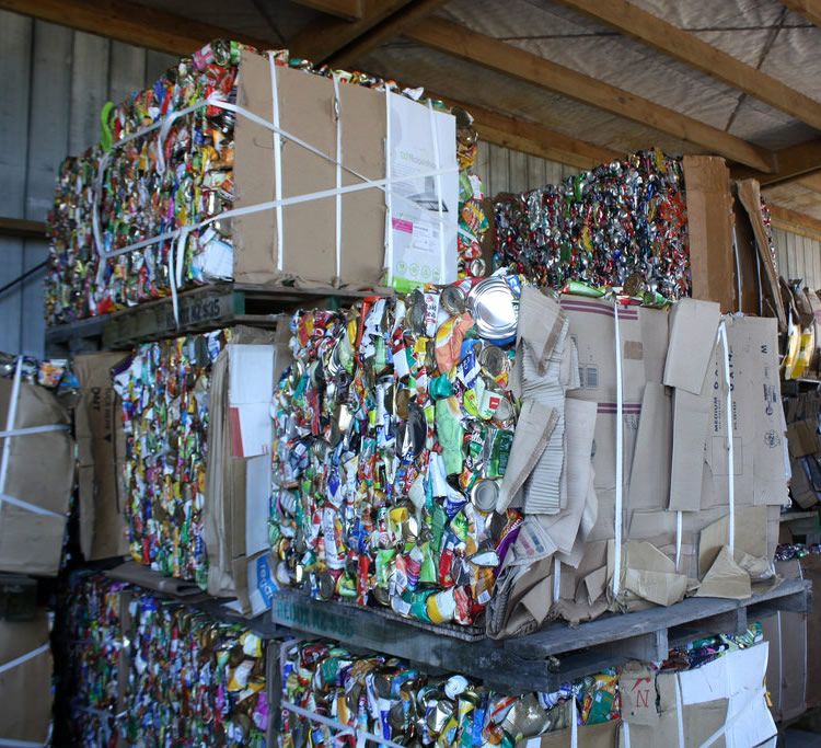 Cans stored in warehouse before recycle