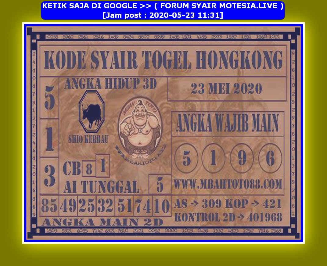 Kode syair Hongkong Sabtu 23 Mei 2020 131