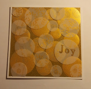 Christmas Card with white and gold vellum circles