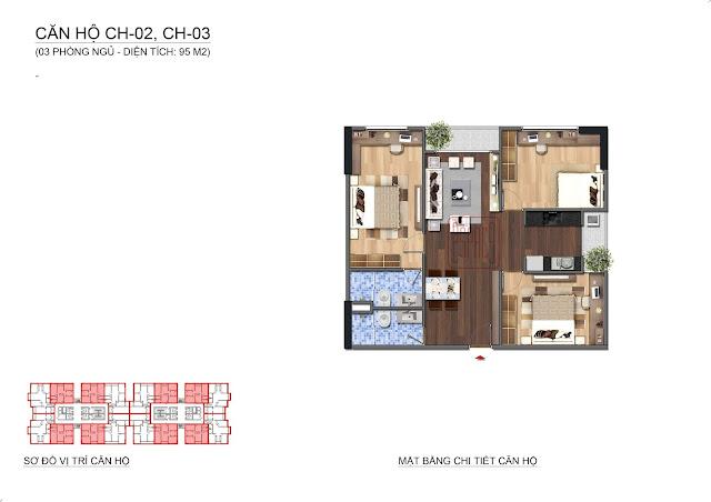 Căn hộ diện tích 95m2, 3 phòng ngủ tại Lạc Hồng Lotus N01T1