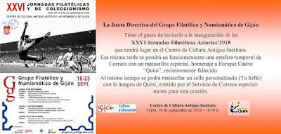 Invitación a las jornadas filatélicas de Gijón