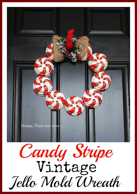 Vintag, Paint and more... a vintage Christmas wreath made by painting red and white candy stripe pattern on vintage jello molds