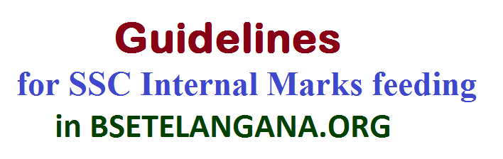 Instructions to DyEOs, DEOs, RJDSE and HMs, Guidelines for feeding of Internal Marks in the official portal BSETELANGANA, Procedure for working out the Formative Tests Marks and Co-Curricular Tests, Procedure for online feeding of Internal Marks