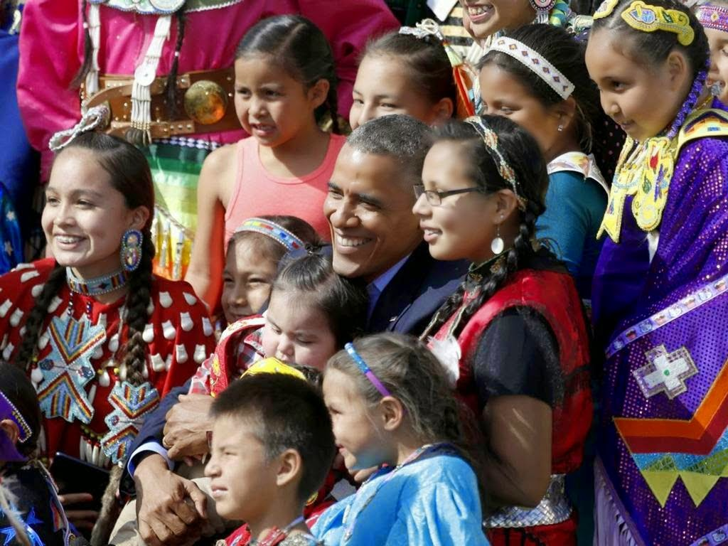 President Obama and First Lady Michelle Obama recently visited the Standing  Bear Sioux Reservation of the Lakota and the Dakota. Here are some pictures:
