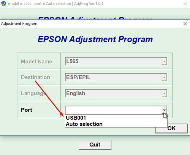 selecciona el puerto de la impresora epson l565