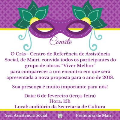 Cras de Mairi convida idosos para um encontro na próxima terça-feira