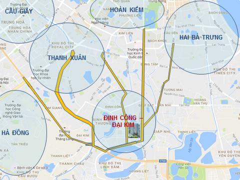 Vị trí Chung cư ECO LAKE VIEW Đại Từ - Hoàng Mai
