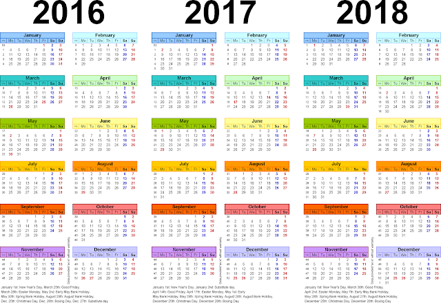 2016/2017/2018 Calendar-3 Year Printable, Three year Printable calendars for 2016/2017/2018 free download, Three year Printable calendars for 2016/2017/2018 Monthly, Three year Printable calendars for 2016/2017/2018 Cute Portrait Landscape