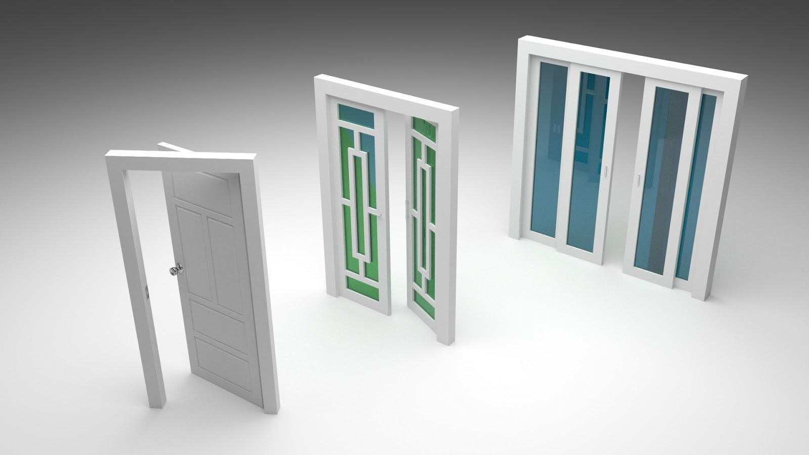 Free 3D Folding & Sliding Doors .blend file