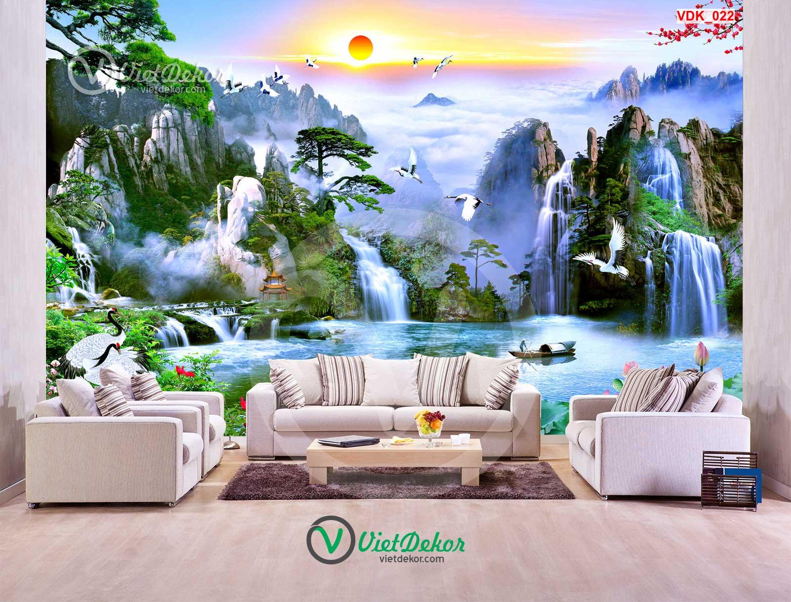 Tranh 3d thác nước nui rừng ngôi chùa chim hạc bay lượn