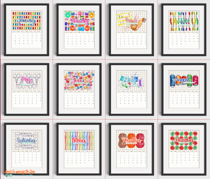 Printable Sewing Calendar