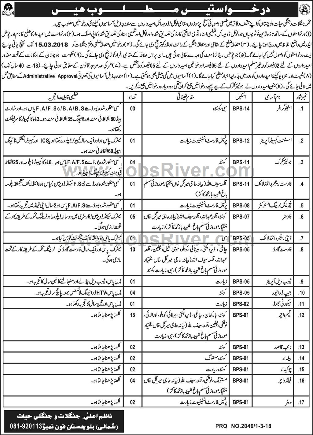 Jobs In Forest And Wildlife Department Quetta 2018 for 65 Vacancies