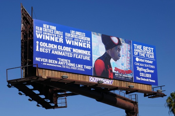 Spider-Man Into Spider-Verse Golden Globe billboard