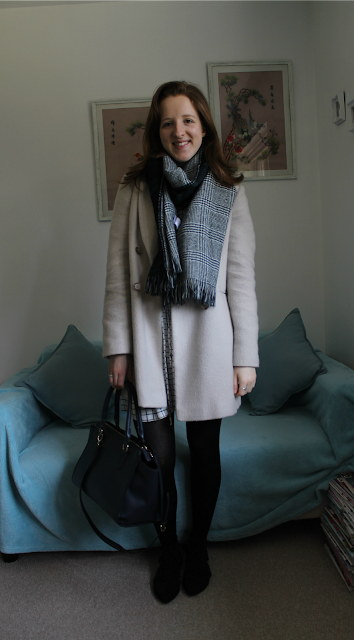 OOTD, Outfit, Outfit of the day, New Look, Dress, Checked Dress, Navy Cardigan, Pandora, Accessorize, fashion, blogger