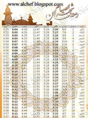إمساكية رمضان 2016 فى الجزائر - إمساكية رمضان 1437 فى الجزائر