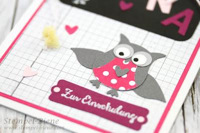 Mädchenkarte Einschulung, Stampin Up Kleine Wünsche, Eulenstanze Stampin Up, Stempel-biene, Bastelworkshops