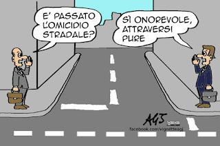 omicidio stradale, incidenti, guida in stato di ebbreza, vignetta satira