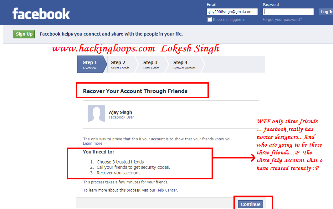 how to bypass facebook security question