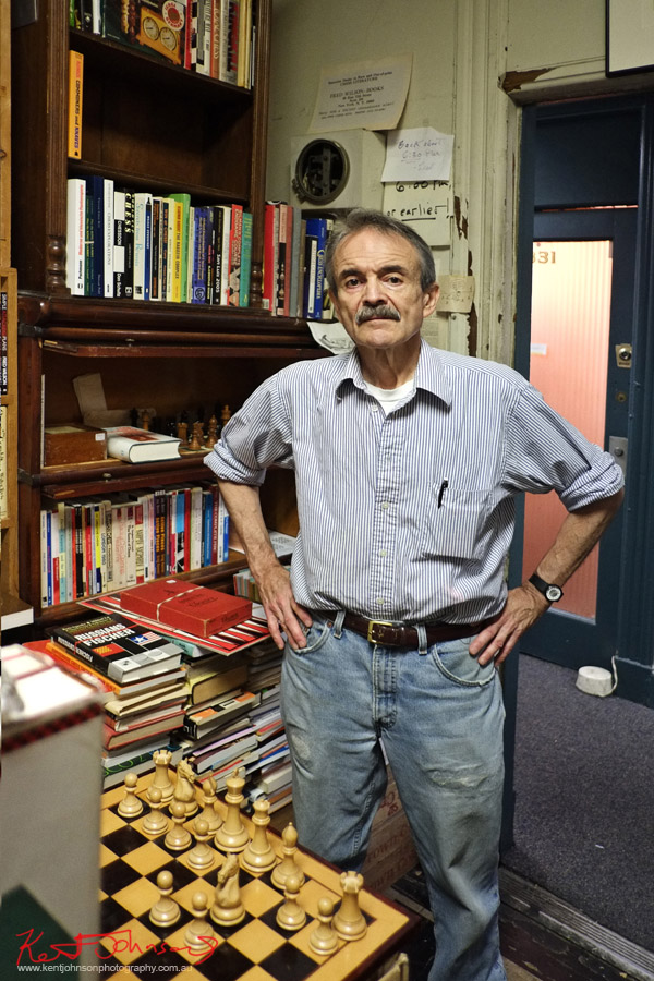 Portrait of Fred Wilson at Fred Wilson Chess Books. Photographed by Kent Johnson for Street Fashion Sydney NY Edition.