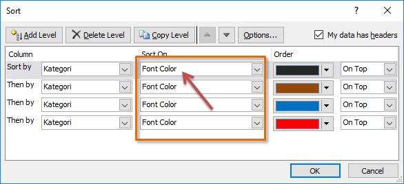 sortir berdasarkan warna font