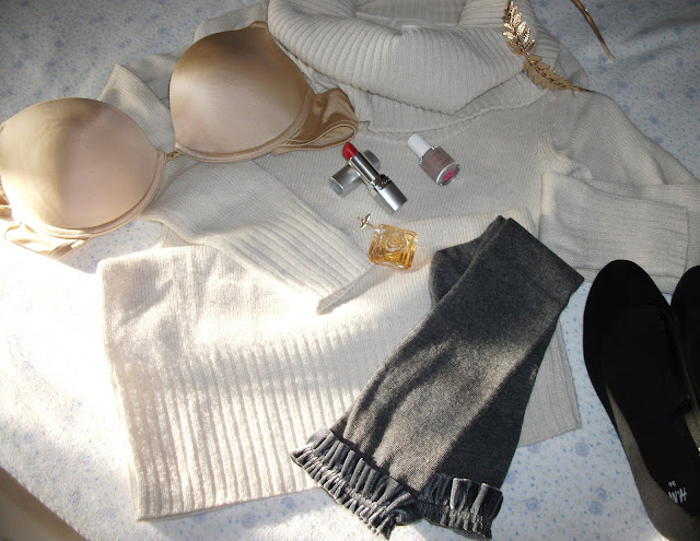 flat lay, Instagram, instagram picture, Adore.me, giveaway, French style, lingerie, Wonderbra nude bra, miniature perfume, Tresor Lancome