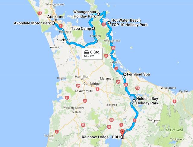 Mit dem Camper durch Neuseeland, Route