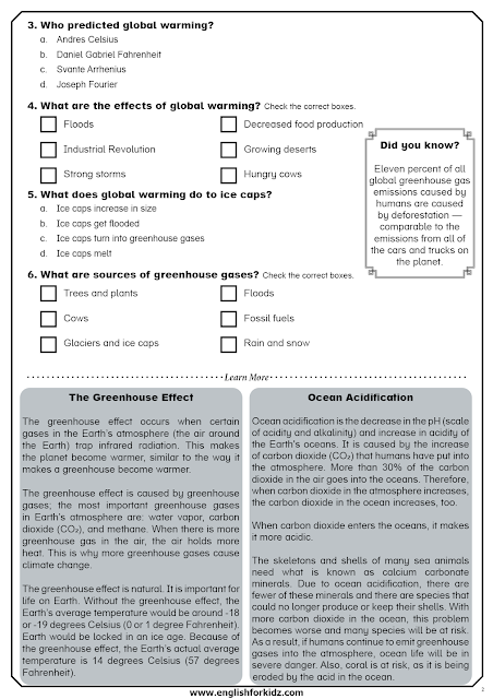Global warming reading comprehension passages for ESL students - greenhouse effect, ocean acidification