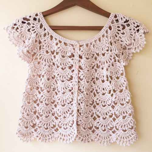 Picot Fan Summer Cardigan - Free Pattern