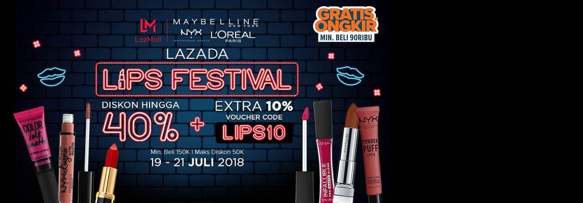 Lazada - Promo L'Oreal Lips Festival (s.d 21 Juli 2018)