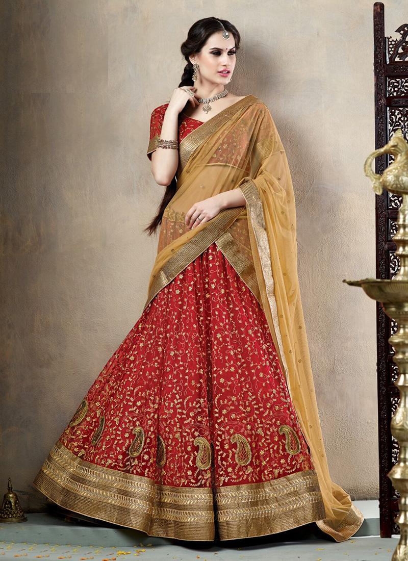 Navratri Special Cream Net Zari Work Wedding Designer Lehenga Choli