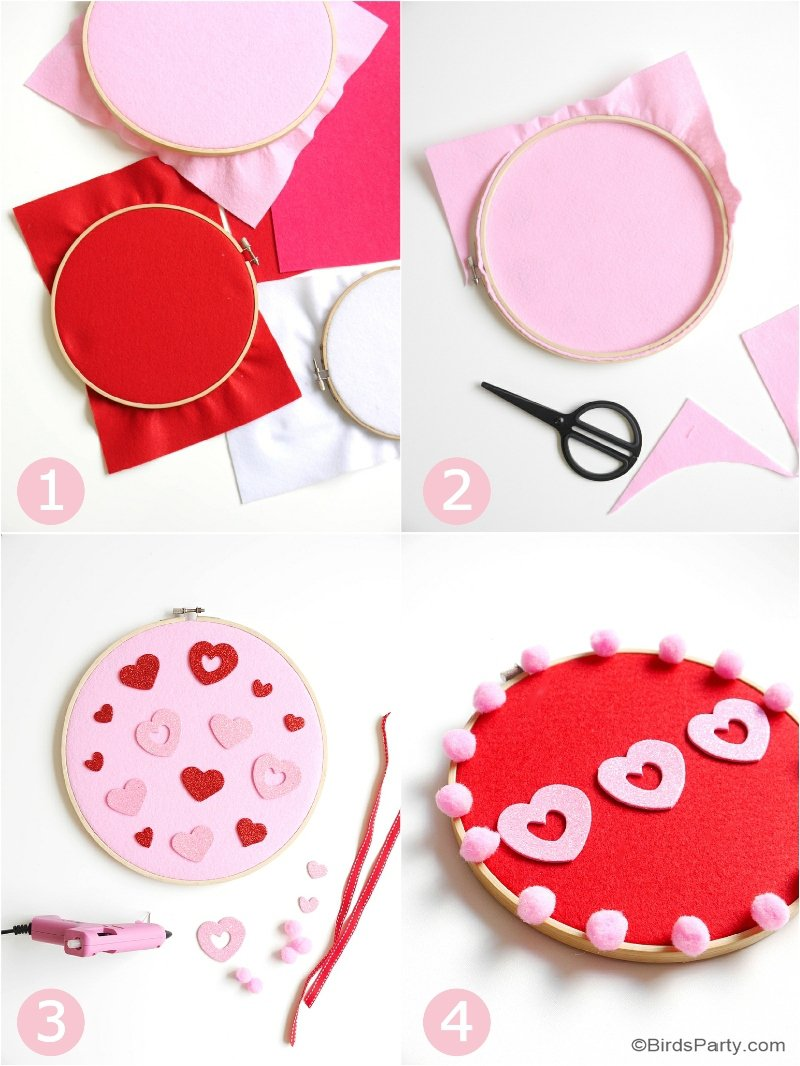 DIY No-Sew Embroidery Hoop Wall Art - an easy, quick & fun craft to make with the kids for valentine's day or bedroom or home decor! by BirdsParty.com @birdsparty #diy #kidscrafts #crafts #valentinesdaycrafts #embroideryhoopart #wallart #nosewcrafts