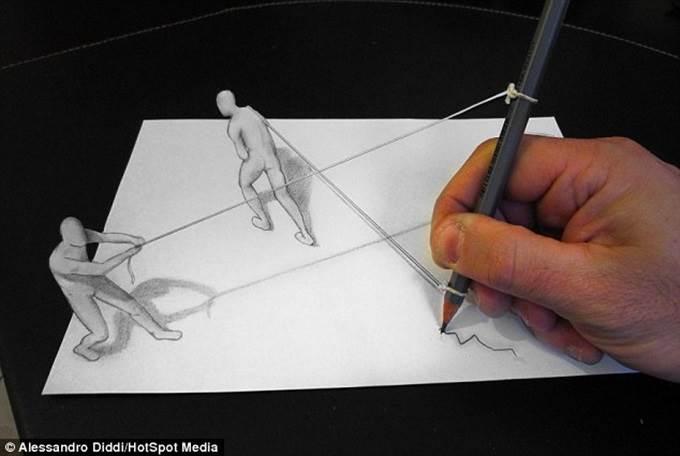 lukisan 3d manusia tarik pensil
