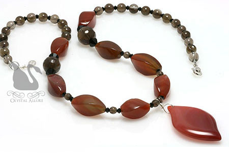 Red Agate Smoky Quartz Gemstone Beaded Necklace (N115)