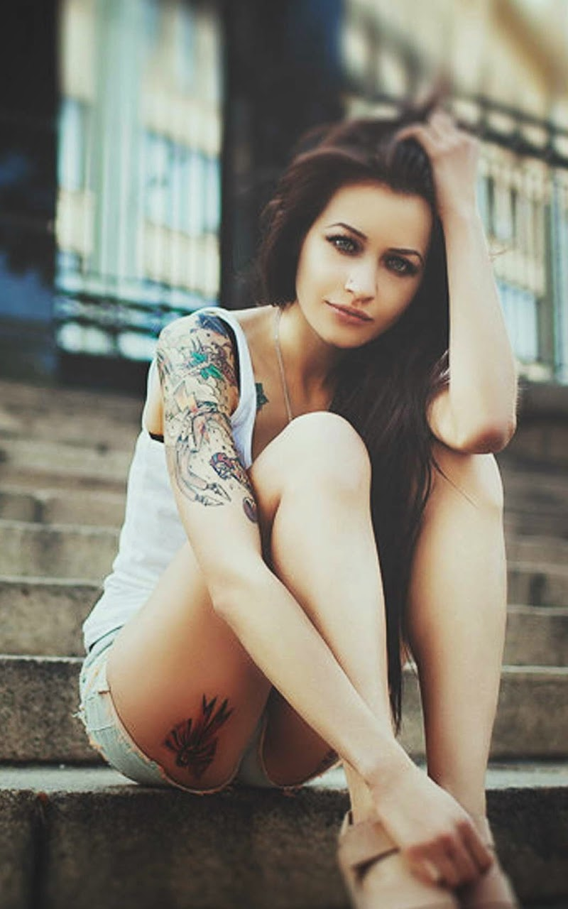 Galaxy Note HD Wallpapers: Blue Eyed Tattooeed Sexy Girl ...