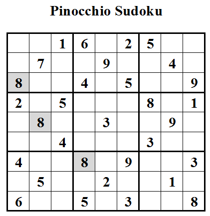 Pinocchio Sudoku (Daily Sudoku League #3)