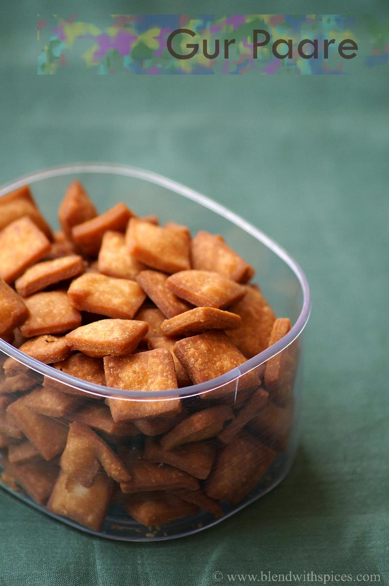 gur pare recipe, how to make gurpare, easy sweets recipes for diwali,