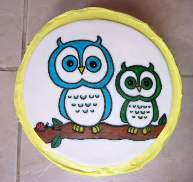 Owls & Ladybugs Teacher Appreciation Cake - Overhead View 1