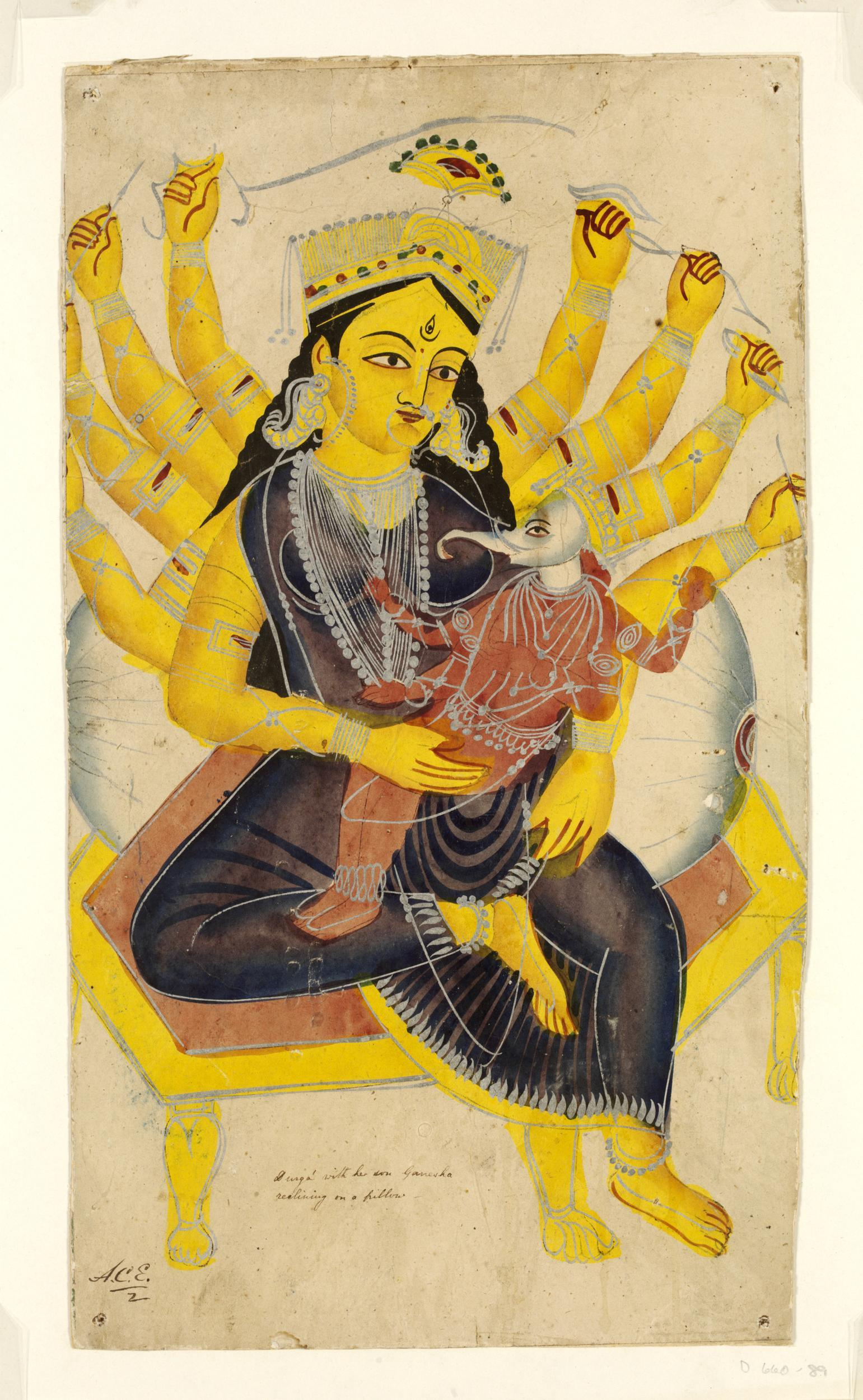 Durga holding Genesha in her Lap - Kalighat Painting, Calcutta (Kolkata), c1850