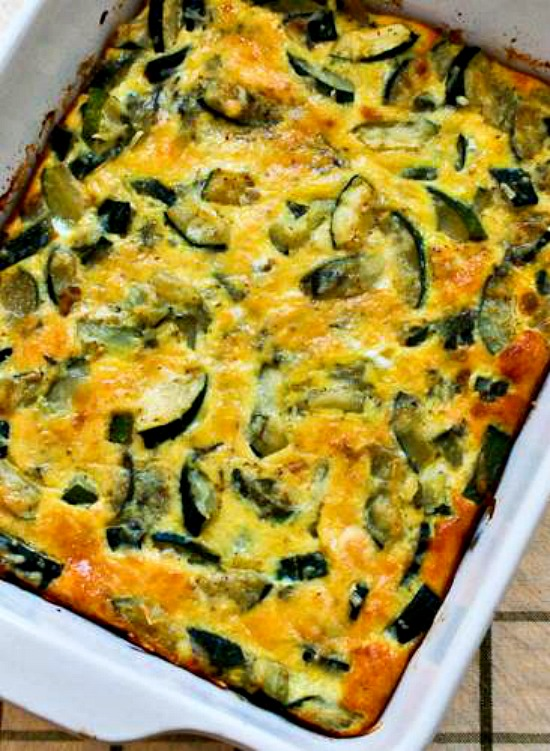 Monster Zucchini and Basil Strata found on KalynsKitchen.com